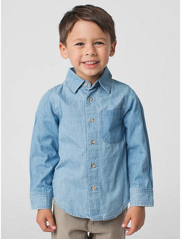 Kids' Denim Long Sleeve Button-Up