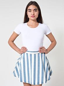 Striped Denim Circle Skirt
