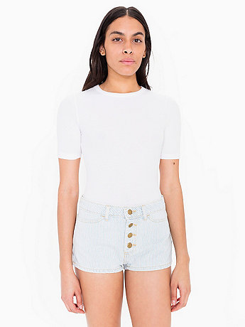 Stripe Denim Front Button Short
