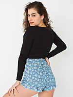 Printed High-Waist Jean Cuff Short