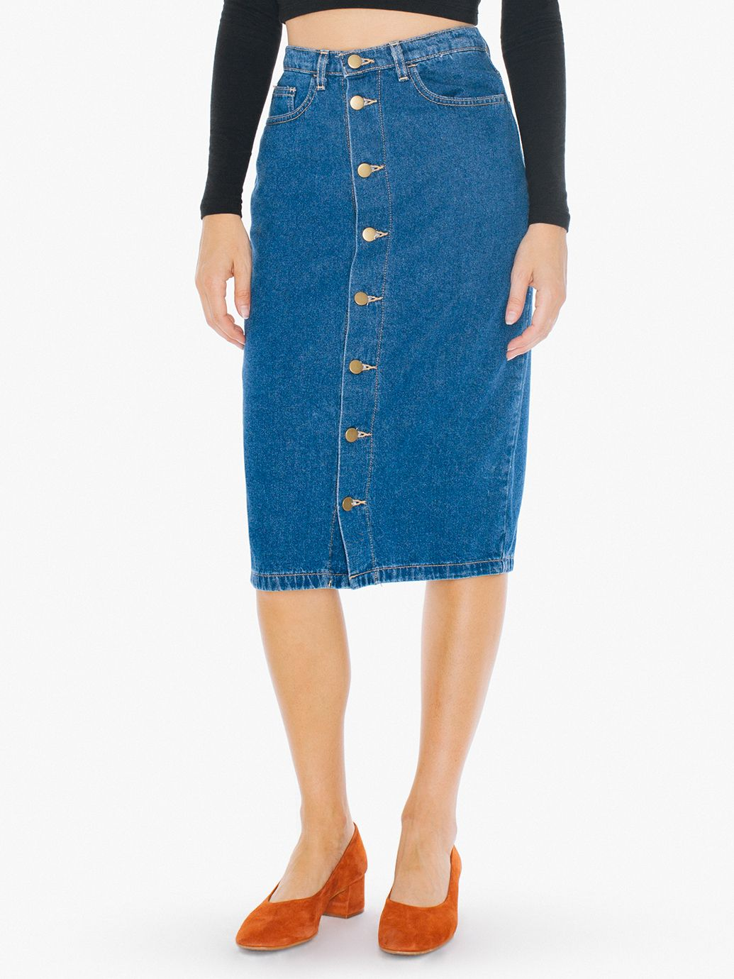denim button front midi skirt american apparel