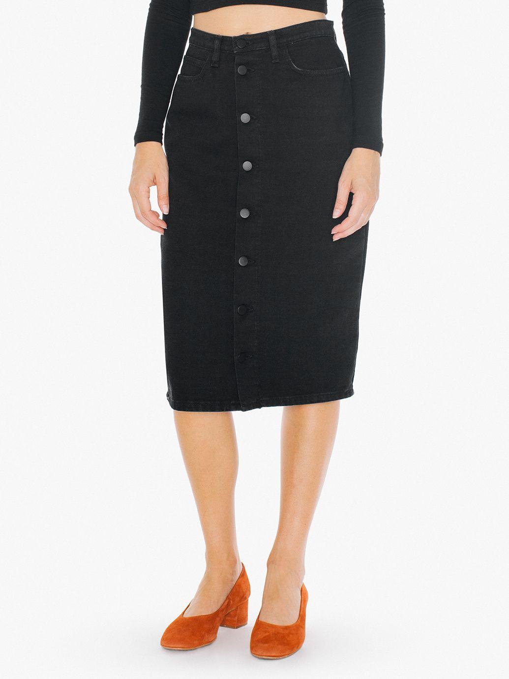 Black Denim Button Front Skirt - Dress Ala