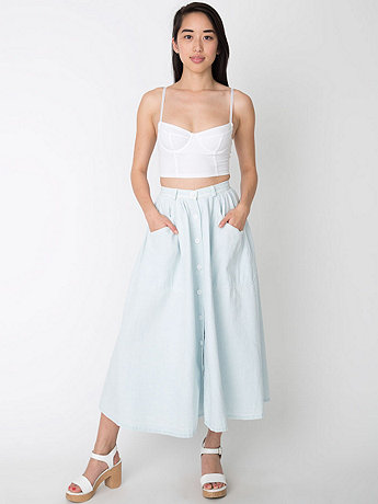 Button Up Long Denim Skirt