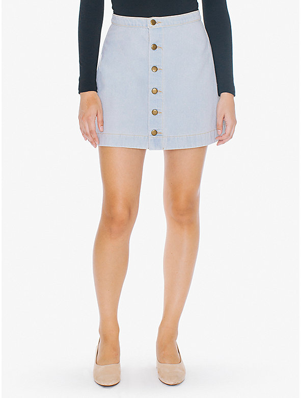 Button Front Denim A-Line Skirt