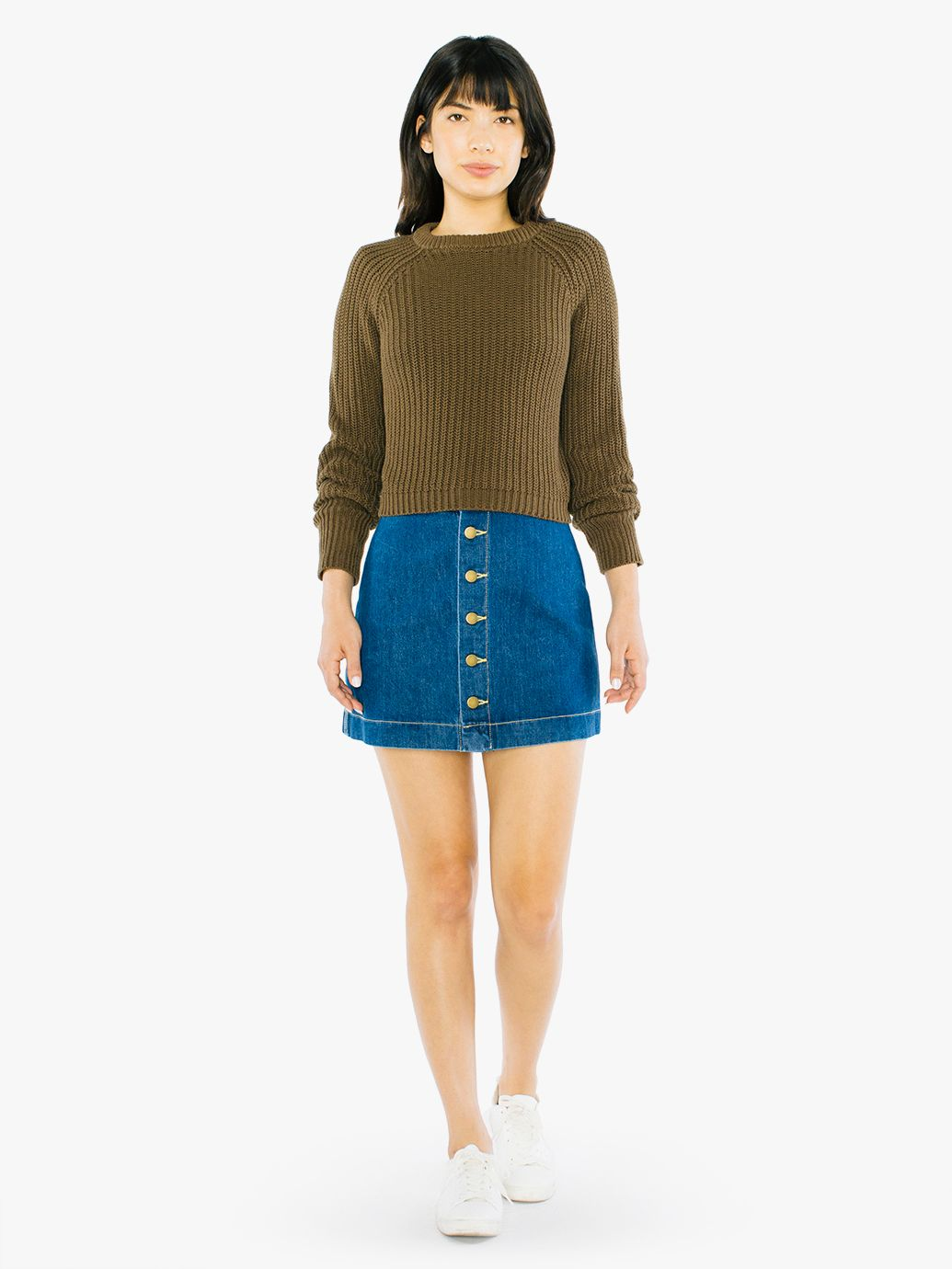 Denim Button Front A-Line Mini Skirt   American Apparel