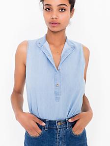 Sleeveless Mandarin Collar Shirt
