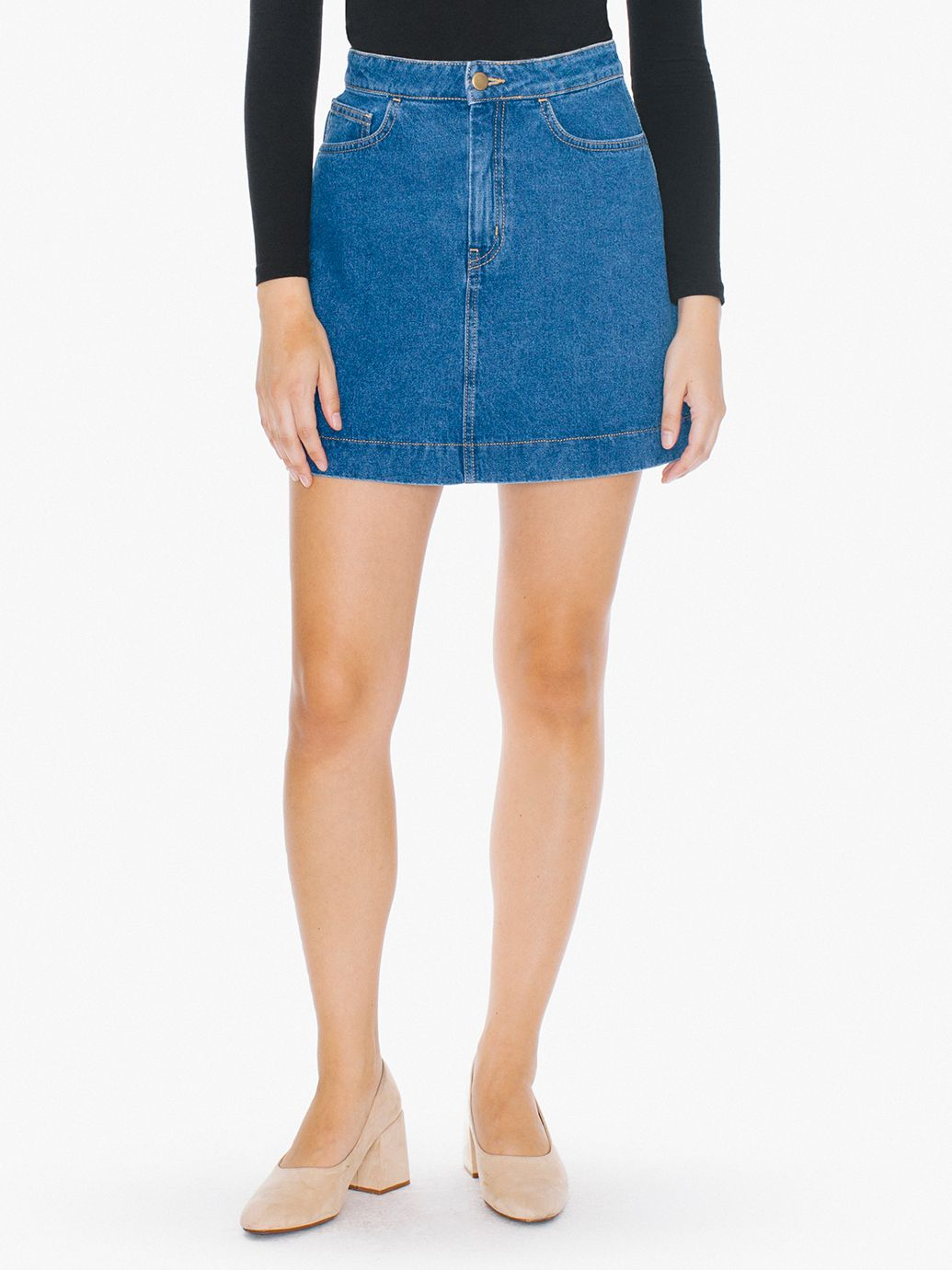 easy denim a line skirt american apparel