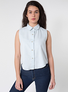 Denim Sleeveless Crop Button-Up