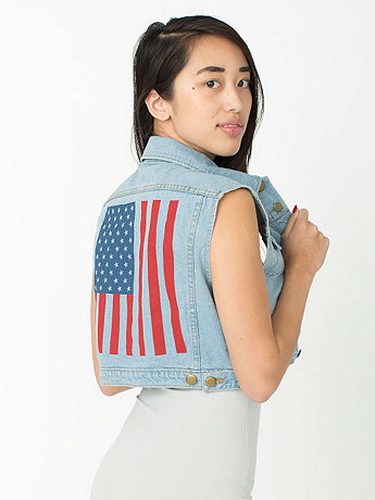 US Flag Screen Printed Crop Denim Vest