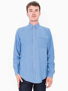 Denim Long Sleeve Button-Up with Pocket