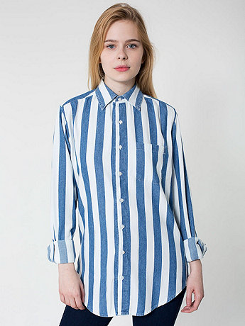 Striped Denim Long Sleeve Button Up Shirt