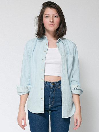 Unisex Denim Long Sleeve Button-Up with Pocket