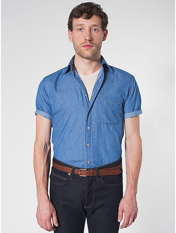 Denim Short Sleeve Button-Up with Pocket