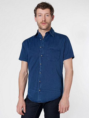 Denim Short Sleeve Button-Up with Pocket