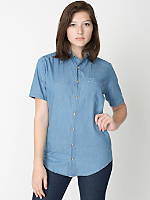 Unisex Denim Short Sleeve Button-Up with Pocket