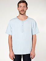 Denim Short Sleeve Henley T - Shirt