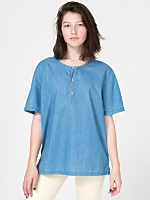 Unisex Denim Short Sleeve Henley T - Shirt