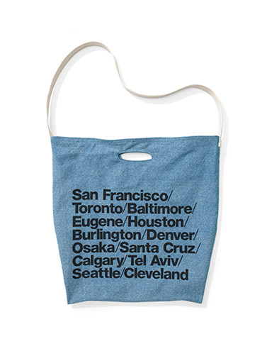 Cities Print Denim Oversized Tote