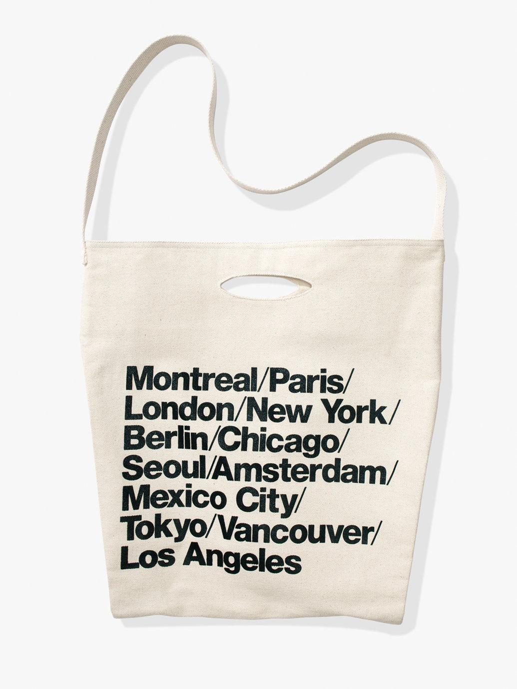 e9d6e74df72 Cities Print Denim Oversized Tote   American Apparel