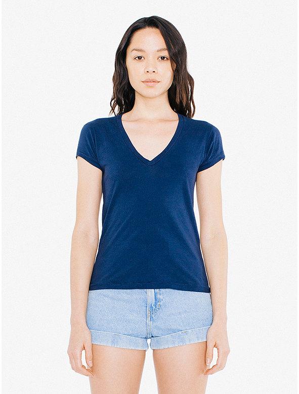 50/1 Jersey Deep V-Neck T-Shirt