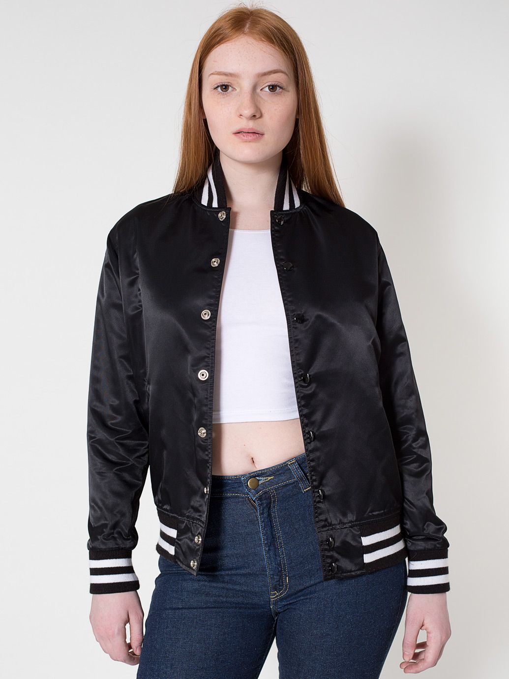 american apparel black satin jacket