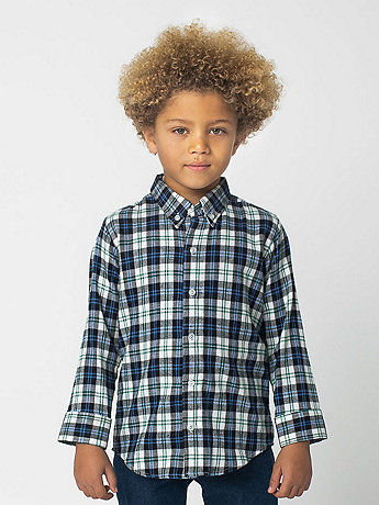 Kids Plaid Flannel Long Sleeve Button-Up
