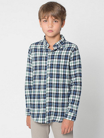 Youth Plaid Flannel Long Sleeve Button-Up