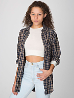 Unisex Plaid Flannel Long Sleeve Button-Up with Pocket