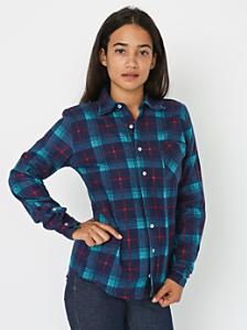 Unisex Printed Plaid Flannel Long Sleeve Button-Up with Pocket