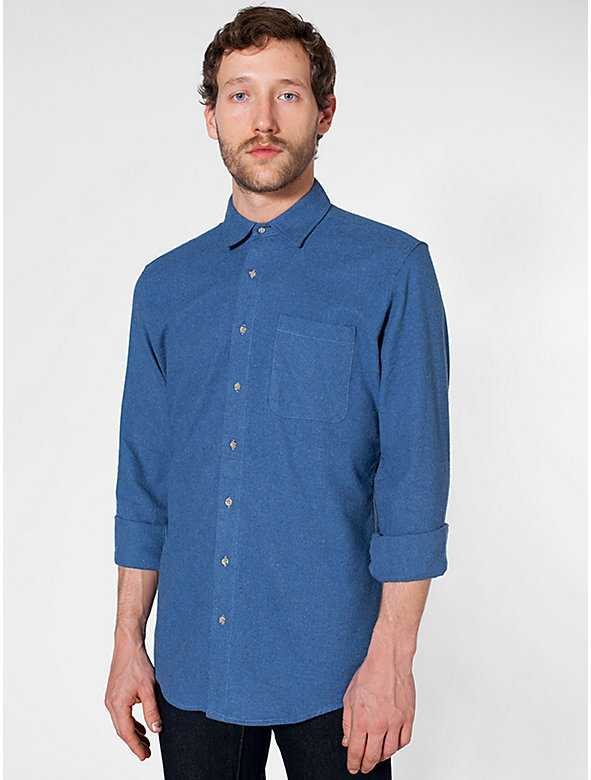 Flannel Long Sleeve Button-Up with Pocket