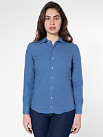 Unisex Flannel Long Sleeve Button-Up with Pocket