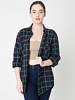 Unisex Tartan Plaid Flannel Long Sleeve Button-Up with Pocket