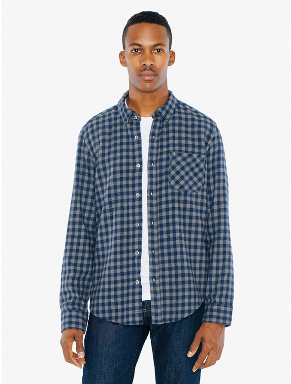 Brushed flannel slim fit shirt american apparel for Mens slim fit flannel shirt
