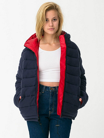 Unisex Reversible Hooded Fleece Poly-Fill Jacket