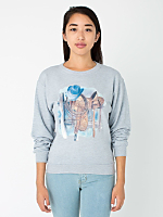 Unisex Heat Transferred Drop-Shoulder French Terry Sweatshirt - Watercolor Saddle