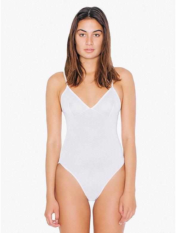 Striped Micromesh Triangle Top 'Sofia' Bodysuit