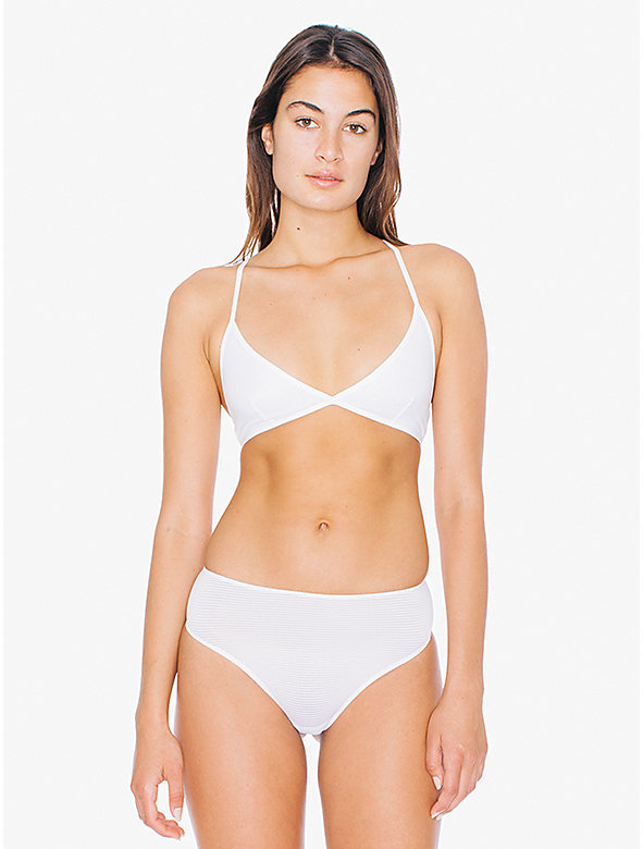 Striped Micromesh High-Waist Thong