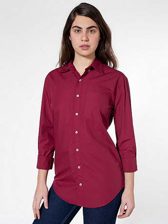 Unisex Washed Poplin Long Sleeve Button-Down with Pocket