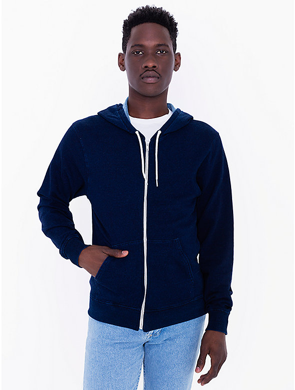 Indigo Terry Hooded Zip Sweatshirt
