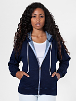 Unisex Indigo Terry Hooded Zip Sweatshirt