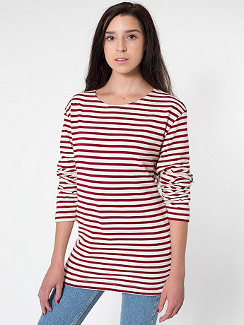 Unisex Sailor Stripe Long Sleeve Pullover