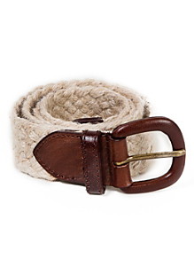 Unisex Jute and Leather Belt