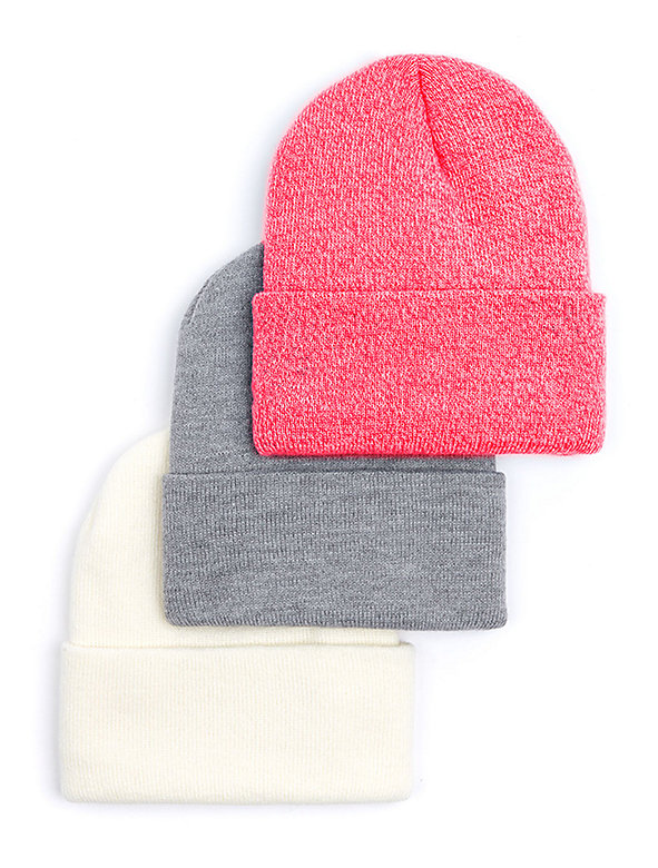 Unisex Cuffed Acrylic Lined Beanie (3-Pack)