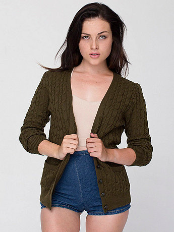 Women's Wool Cable Knit Cardigan