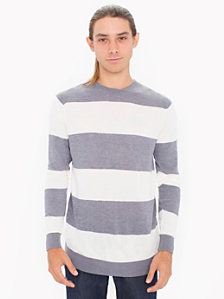 Knit Wide Stripe Sweater Crew Neck