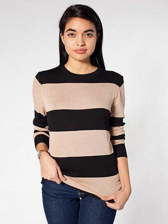 Unisex Knit Wide Stripe Sweater Crew Neck