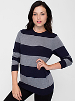 Unisex Knit Wide Stripe Sweater Crew Neck