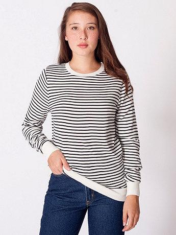 Unisex Knit Small Stripe Sweater Crew Neck