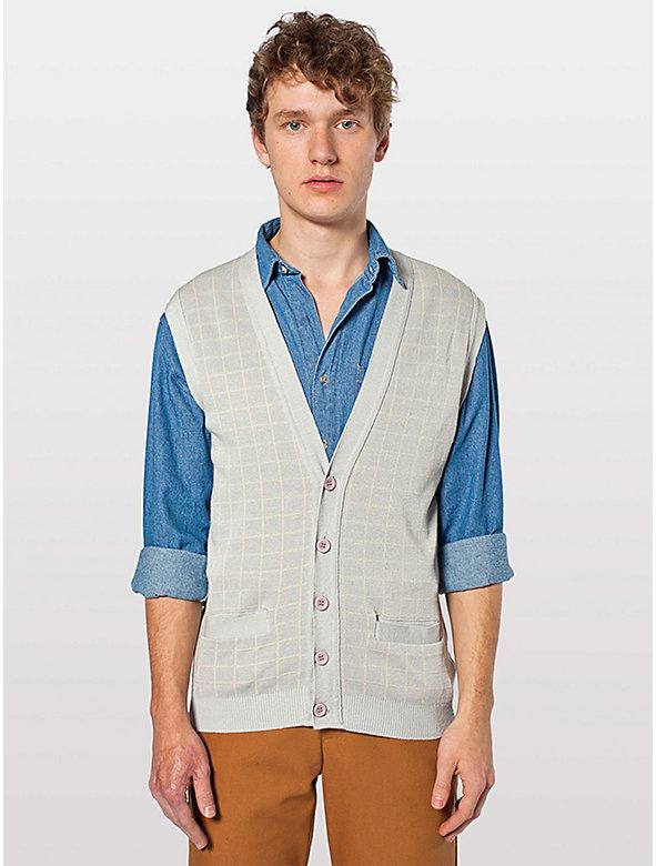 Knit Long Grid Vest