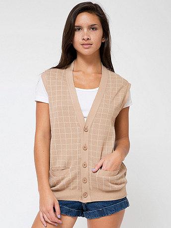 Unisex Knit Long Grid Vest
